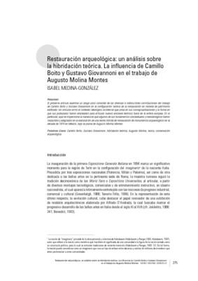 Restauración arqueológica: un análisis sobre la hibridación teórica. La infuencia de Camillo Boito y Gustavo Giovannoni en el trabajo de Augusto Molina Montes