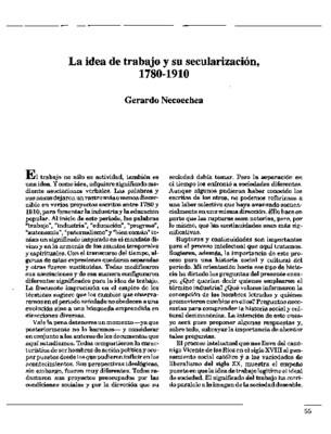 La idea de trabajo y su secularización, 1780-1910