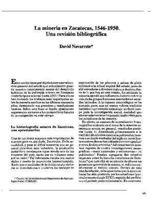 La minería en Zacatecas, 1546-1950. Una revisión bibliográfica