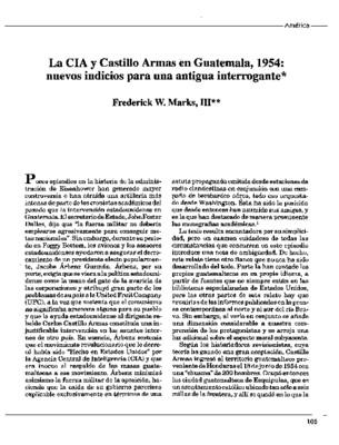 La CIA y Castillo Armas en Guatemala, 1954: nuevos indicios para una antigua interrogante