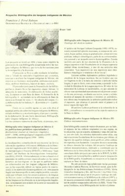 Proyecto: Bibliografía de Lenguas Indígenas de México