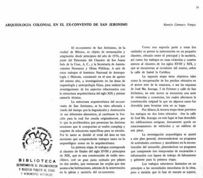 Arqueología colonial en el exconvento de San Jerónimo