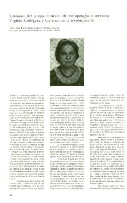 Seminario del grupo mexicano de antropología alimentaria Virginia Rodríguez y los ecos de la revolucionaria