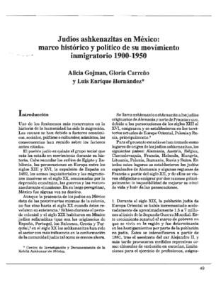 Judíos ashkenazitas en México: marco histórico y político de su movimiento inmigratorio 1900-1950