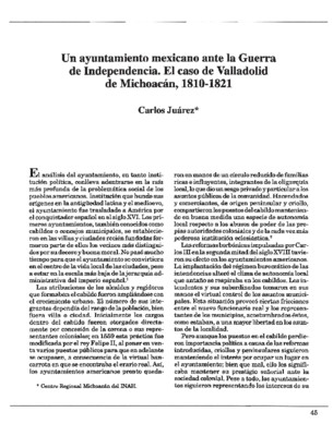 Un ayuntamiento mexicano ante la Guerra de Independencia. El caso de Valladolid de Michoacán, 1810-1821
