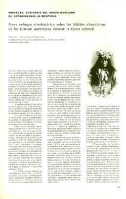 Breve enfoque etnohistórico sobre los hábitos alimentarios de las Clarisas queretanas durante la época colonial