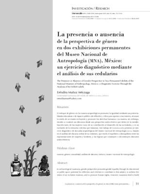 La presencia o ausencia de la perspectiva de género en dos exhibiciones permanentes del Museo Nacional de Antropología (MNA), México: un ejercicio diagnóstico mediante el análisis de sus cedularios