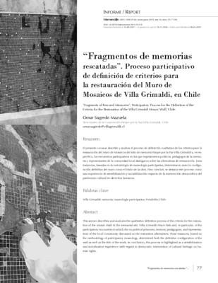 """""""Fragmentos de memorias rescatadas"""". Proceso participativo de definición de criterios para la restauración del Muro de Mosaicos"""