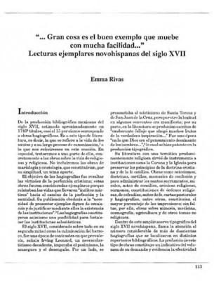 """""""…Gran cosa es el buen exemplo que muebe con mucha facilidad…"""" Lecturas ejemplares novohispanas del siglo XVII"""