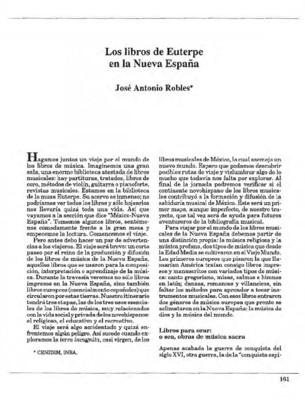 Los libros de Euterpe en la Nueva España