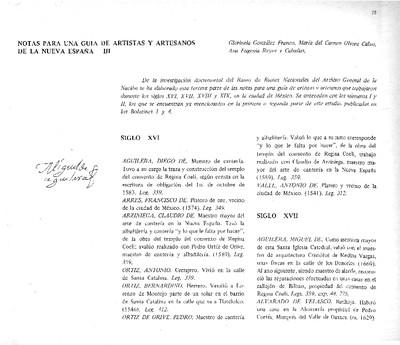 Notas para una guía de artistas y artesanos de la Nueva España III