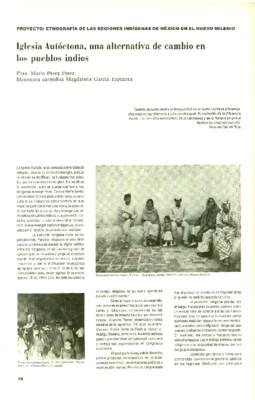 Iglesia Autóctona, una alternativa de cambio en los pueblos indios