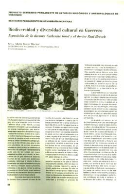 Biodiversidad y diversidad cultural en Guerrero. Exposición de la doctora Catherine Good y el doctor Paul Hersch