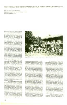 Proyecto relaciones entre mayas de Yucatan, El Petén y Verapaz, siglos XVII-XIX