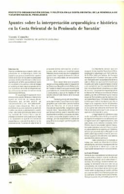 Apuntes sobre la interpretación arqueológica e histórica de la Costa Oriente de la Península de Yucatán