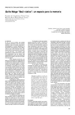"""Guiña Ndaga """"Baúl rústico"""": Un espacio para la memoria"""
