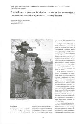 Alcoholismo y proceso de alcoholización en las comunidades indígenas de Amealco, Querétaro. Causas y efectos