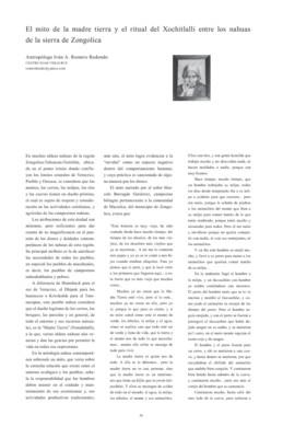 El mito de la madre tierra y el ritual del Xochitlalli entre los nahuas de la sierra de Zongolica