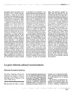 La gran reforma cultural secularizadora