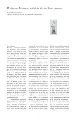 El Miktan en Tzinacapan. Análisis de discurso de dos chamanes