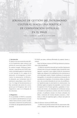 Jornadas de gestión del patrimonio cultural: Hacia una política de conservación integral en el INAH