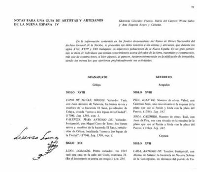 Notas para una guía de Artistas y Artesanos de la Nueva España IV