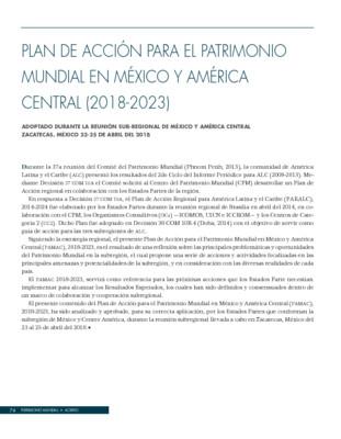 Plan de acción para el patrimonio mundial en México y América Central (2018-2023)