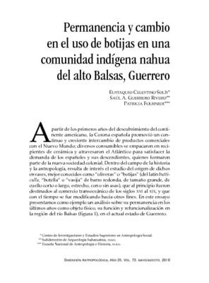 Permanencia y cambio en el uso de botijas en una comunidad indígena nahua del alto Balsas, Guerrero