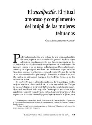 El xicalpextle. El ritual amoroso y complemento del huipil de las mujeres tehuanas