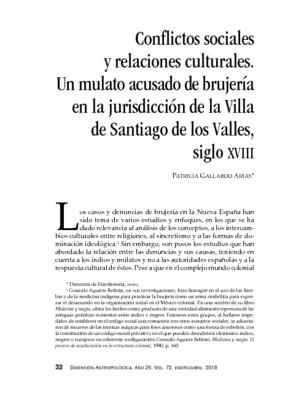 Conflictos sociales y relaciones culturales. Un mulato acusado de brujería en la jurisdicción de la Villa de Santiago de los Valles, siglo XVIII