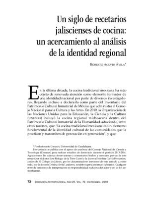 Un siglo de recetarios jaliscienses de cocina: un acercamiento al análisis de la identidad regional