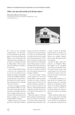 1906, cien años del natalicio de Benito Juárez