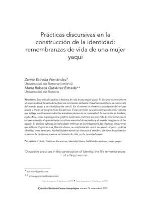 Prácticas discursivas en la construcción de la identidad: remembranzas de vida de una mujer yaqui