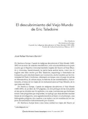 El descubrimiento del Viejo Mundo de Eric Taladoire