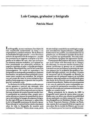 Luis Campa, grabador y fotógrafo