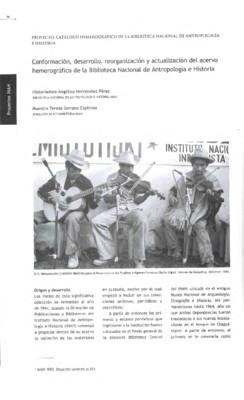 Conformación, desarrollo, reorganización y actualización del acervo hemerográfico de la Biblioteca Nacional de Antropología e Historia