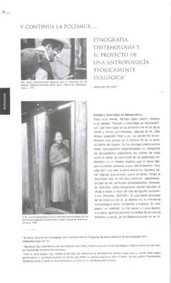Etnografía, epistemología y el proyecto de una antropología teóricamente dialógica