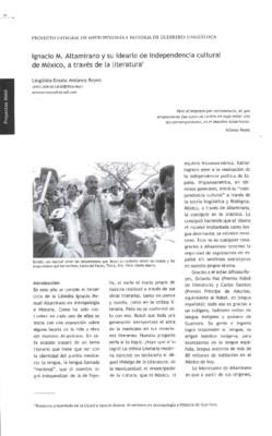 Ignacio M. Altamirano y su ideario de Independencia cultural de México, a través de la literatura
