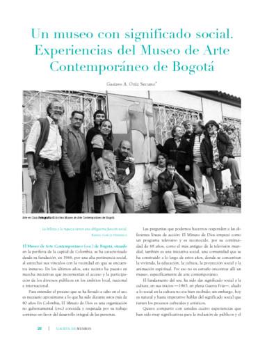 Un museo con significado social. Experiencias del Museo de Arte Contemporáneo de Bogotá