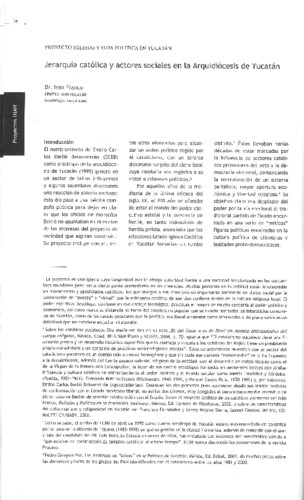 Jerarquía católica y actores sociales en la Arquidiócesis de Yucatán