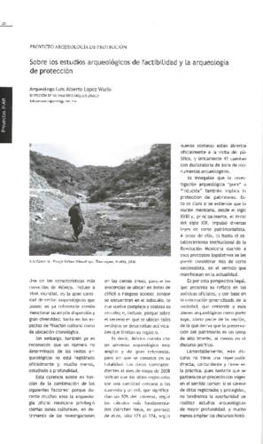 Sobre los estudios arqueológicos de factibilidad y arqueología de protección
