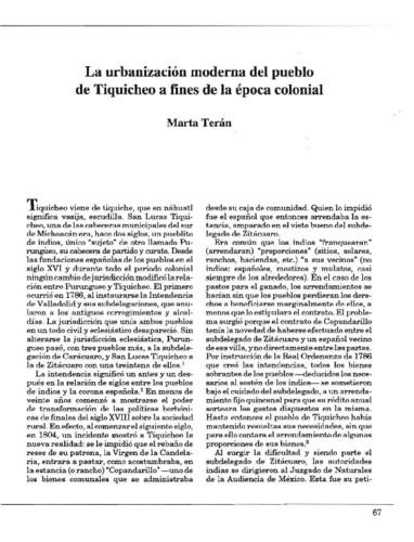La urbanización moderna del pueblo de Tiquicheo a fines de la época colonial