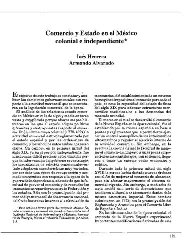 Comercio y Estado en el México colonial e independiente