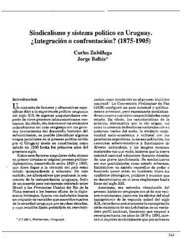 Sindicalismo y sistema político en Uruguay. ¿Integración o confrontación? (1875-1905)