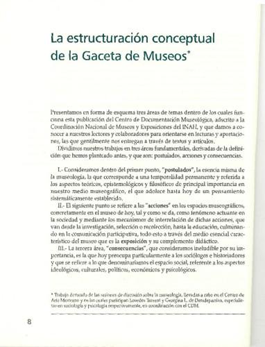 La estructuración conceptual de la Gaceta de Museos