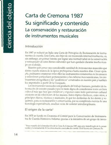 Carta de Cremona 1987. Su significado y contenido. La conservación y restauración de instrumentos musicales