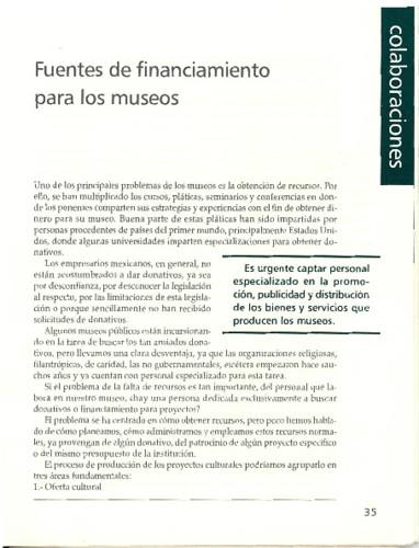 Fuentes de financiamiento para los museos