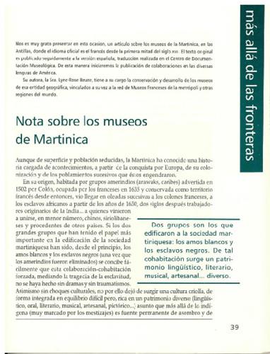 Notas sobre los museos de Martinica