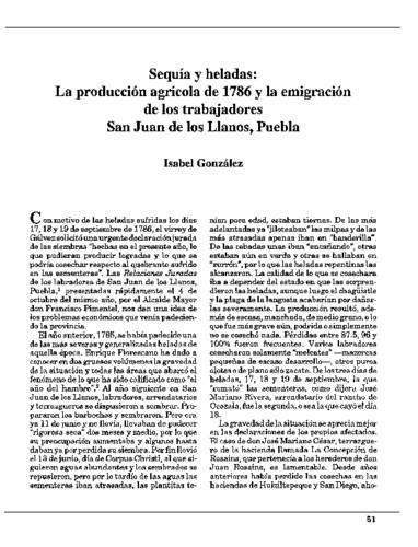 Sequía y heladas: La producción agrícola de 1786 y la migración de los trabajadores: San Juan de los Llanos, Puebla