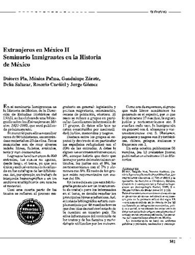 Extranjeros en México II. Seminario Inmigrantes en la Historia de México